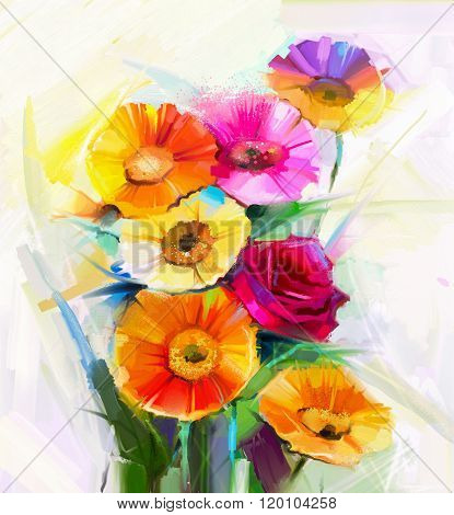 Oil Painting A Bouquet Of Rose,daisy And Gerbera Flower