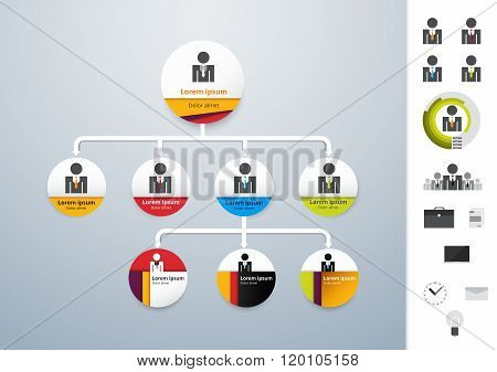 Vector Modern And Simple Organization Chart Template. Vector Illustration.