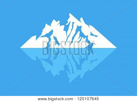 Symbol of a mountain with reflection on blue background