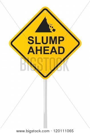Slump ahead road sign