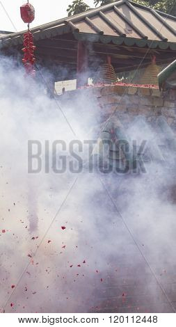 Firecrackers Bombing In A Temple