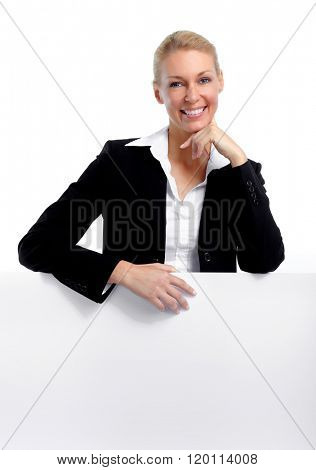 Beautiful business woman with banner.