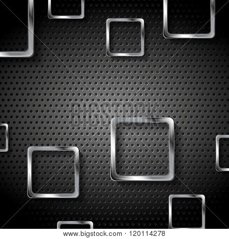 Abstract metal perforated background with silver squares. Vector graphic design template