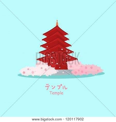 Temple In Japan With Sakura