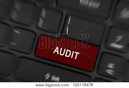 Audit Text On Red Keyboard Button