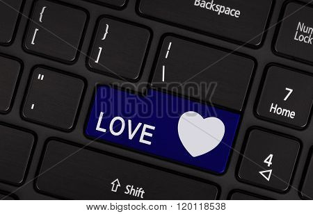 Blue Love And Heart Button
