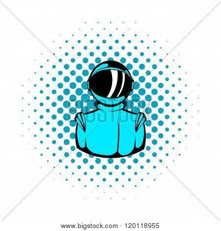 Astronaut in spacesuit icon, comics style