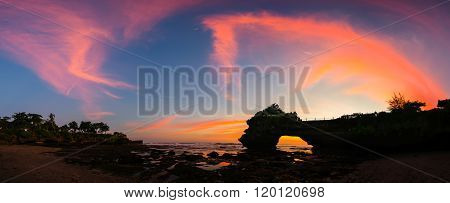 Panoramic Of Beautiful Sky Sunset At Hindu Temple Pura Tanah Lot, Bali, Indonesia.