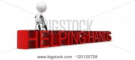 3D Man Walking With The Help Of Walking Aid Through Helping Hands Text Concept