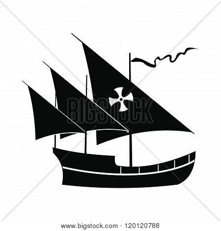 Santa Maria sailing ship icon, simple style