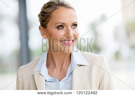 attractive mid age businesswoman looking outside window