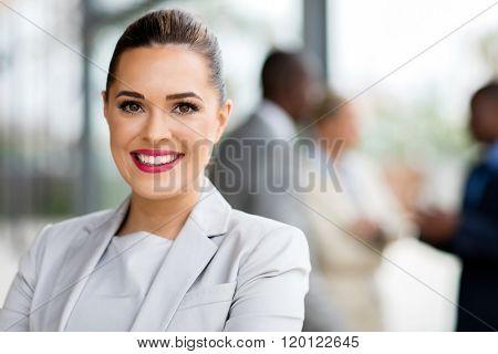 happy attractive businesswoman in office