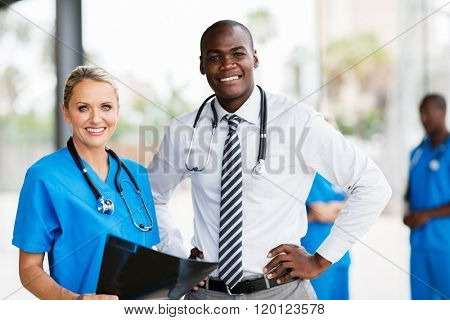 portrait of professional medical workers in hospital