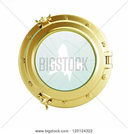 Porthole Broken Glass Gold 3D Illustrations On A White Background