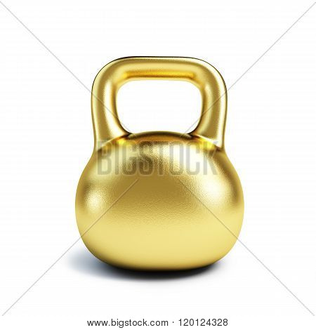 Dumbbell Weights Golden Isolated On White Background