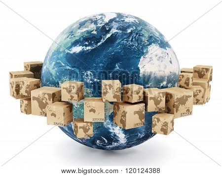 Cardboard Boxes Turning Around The Earth