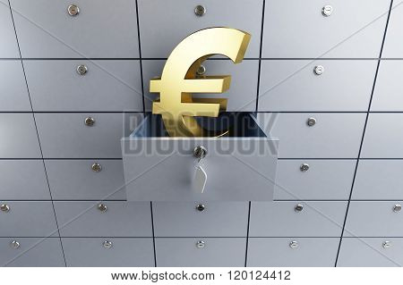 Euro Sign Opened Empty Bank Deposit Cell