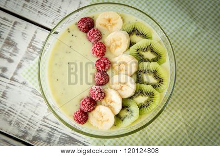 Soup From Fruit And Berries With Oats And Flax Seeds. Healthy Food Concept.