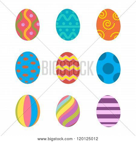 Easter eggs vector icons flat style.