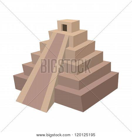 Mayan pyramid, Mexico icon, cartoon style