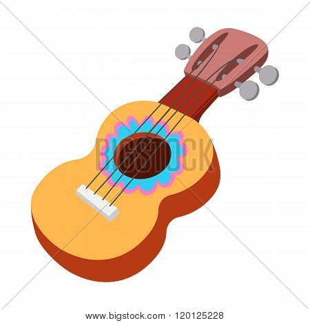 Acoustic guitar icon, cartoon style