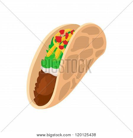 Tortilla wrap with meat and vegetables icon, cartoon style