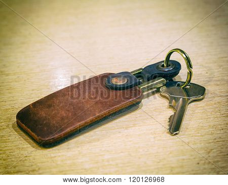 Keys, Leather Keychain