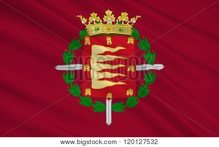 Flag Of Valladolid Is A City Of Northwest Spain