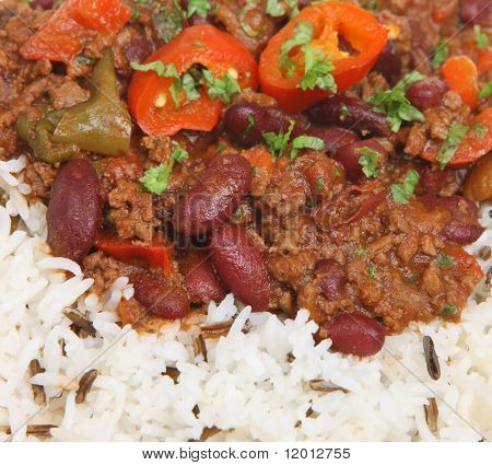Chilli con carne with rice