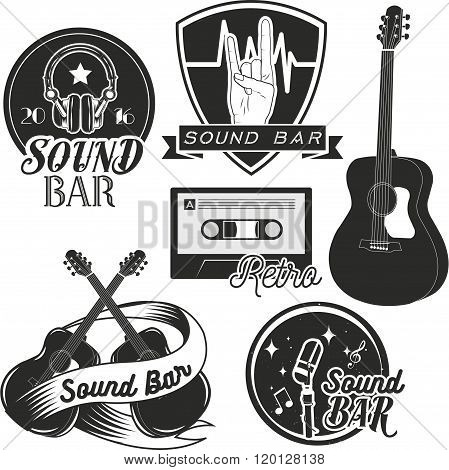 Vector set of sound recording studio labels in vintage style. Rock music instruments, cassette tape,