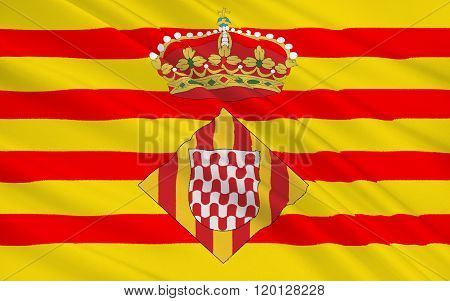 Flag Of Girona Is A Province Of Spain