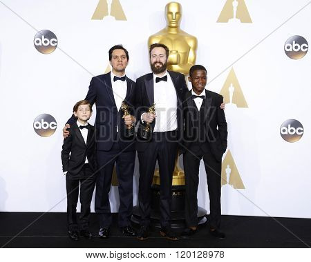 LOS ANGELES - FEB 28:  Jacob Tremblay, Shan Christopher Ogilvie, Benjamin Cleary Abraham Attah at the 88th Annual Academy Awards at the Dolby Theater on February 28, 2016 in Los Angeles, CA