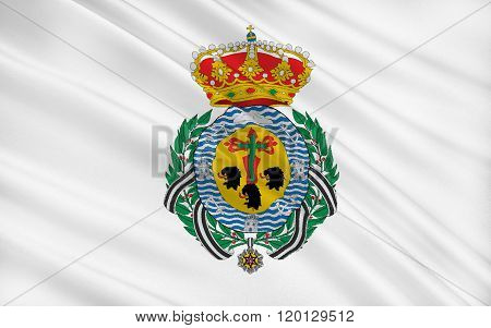 Flag Of Santa Cruz De Tenerife Is A City And Capital Of The Canary Islands Of Spain