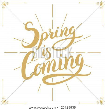 Spring Is Coming. Hand Drawn Lettering.