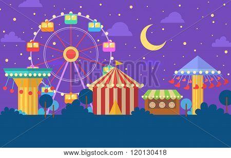 Funfair carnival night illustration