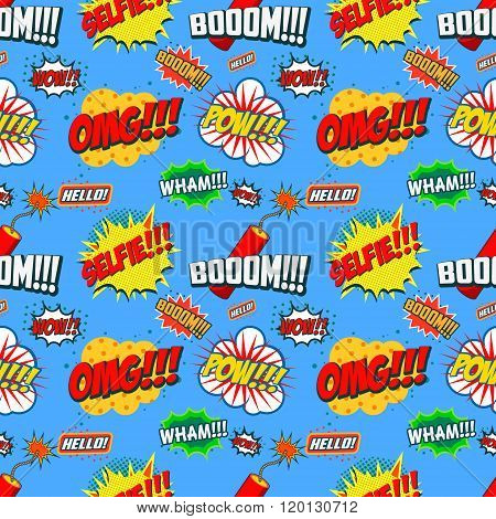 Wow Seamless Pattern. Seamless Pattern With Comic Style Phrases. Vector Design Element.