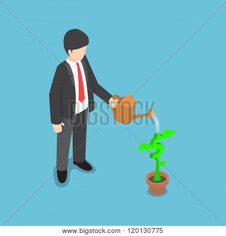 Isometric Usinessman Watering Dollar Flower Plant