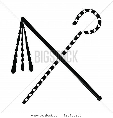 Rod and whip of Pharaoh icon, simple style