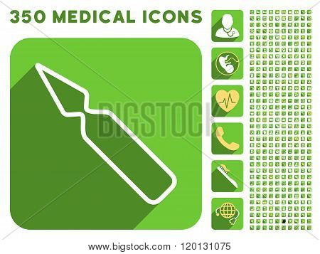 Empty Ampoule Icon and Medical Longshadow Icon Set