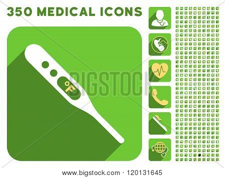 Fahrenheit Thermometer Icon and Medical Longshadow Icon Set