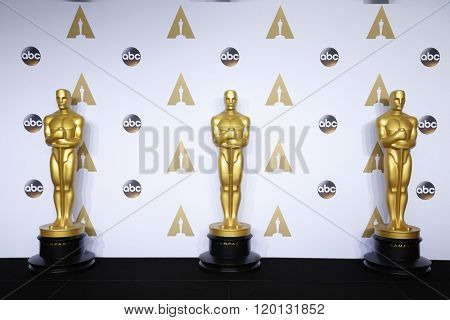 LOS ANGELES - FEB 28:  Oscar Statue at the 88th Annual Academy Awards - Press Room at the Dolby Theater on February 28, 2016 in Los Angeles, CA