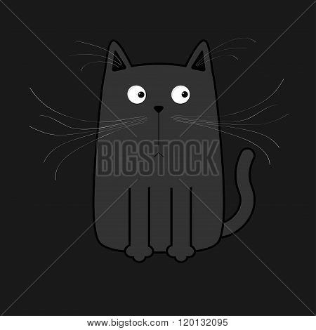Cute Black Cartoon Cat. Big Mustache Whisker. Funny Character. Flat Design. Black Background.