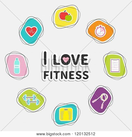 I Love Fitness Icon Set Isolated. Round Frame. Timer, Whater, Dumbbell, Apple, Jumping Rope, Scale,