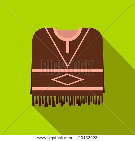Mexican poncho icon, flat style