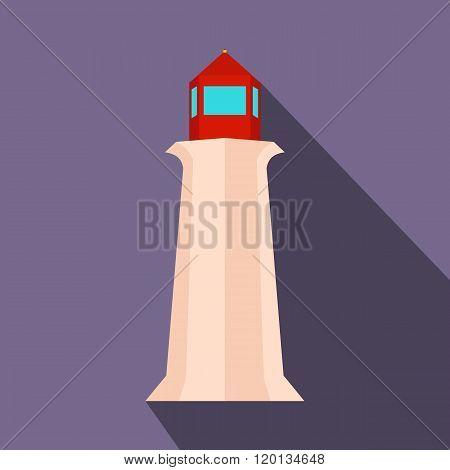 Peggy Cove Lighthouse, Nova Scotia, Canada icon, flat style