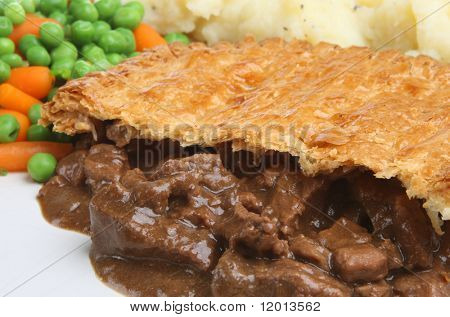 Steak pie with mashed potato
