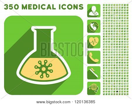 Infection Container Flask Flat Icon And Medical Longshadow Flat Icons