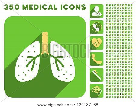 Lungs Icon and Medical Longshadow Icon Set
