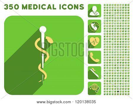 Medical Needle Icon and Medical Longshadow Icon Set