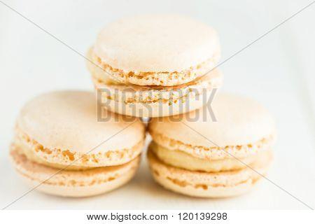 Vanilla Macaroons On Light Background
